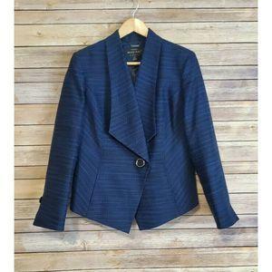Mary Kay Blue Moto Blazer Jacket Womens 14p Petite